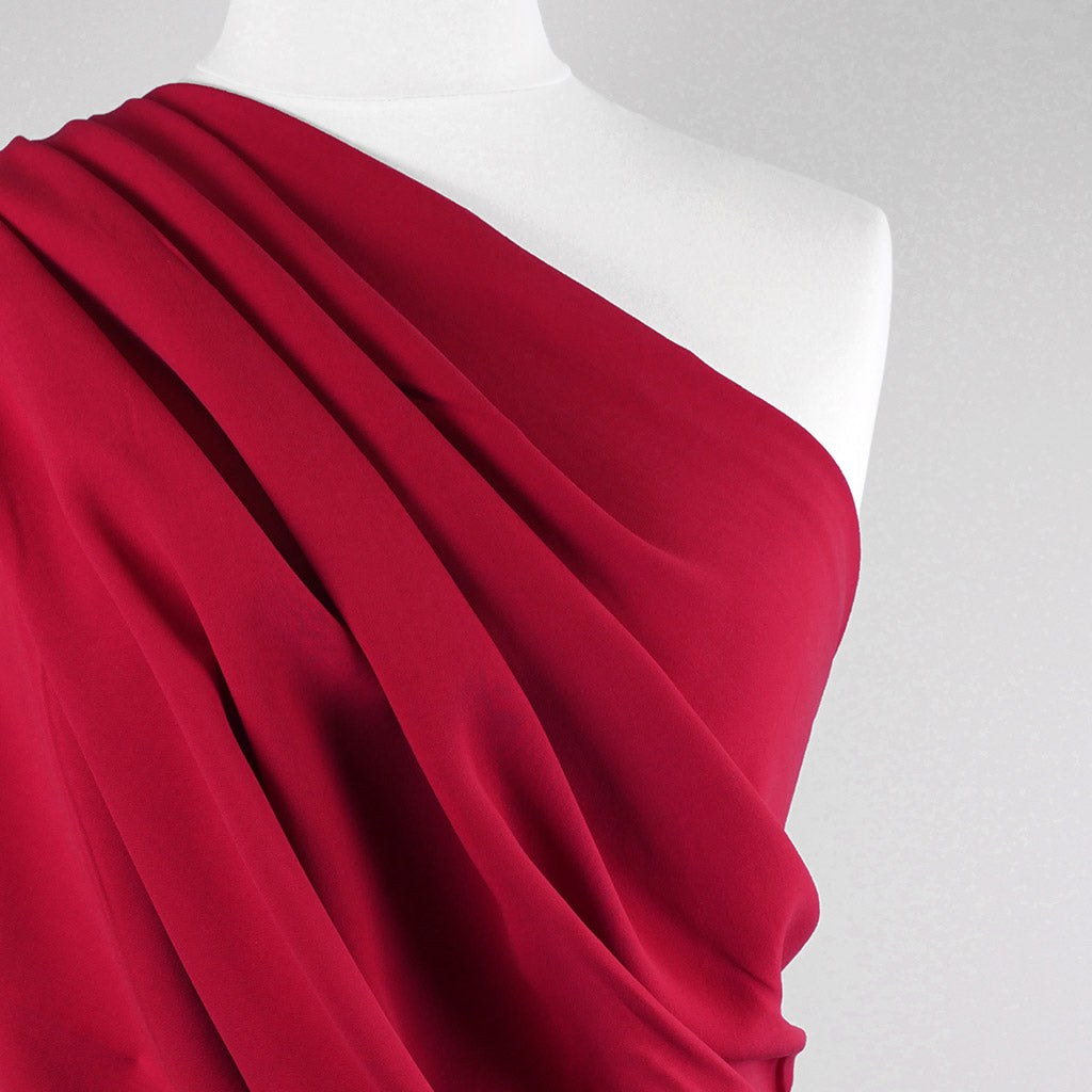 Madison - Lipstick Red Viscose Crepe Woven Fabric