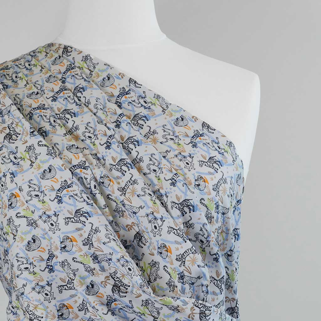 Mars - Blue Jungle Animals, Cotton Poplin Woven Fabric