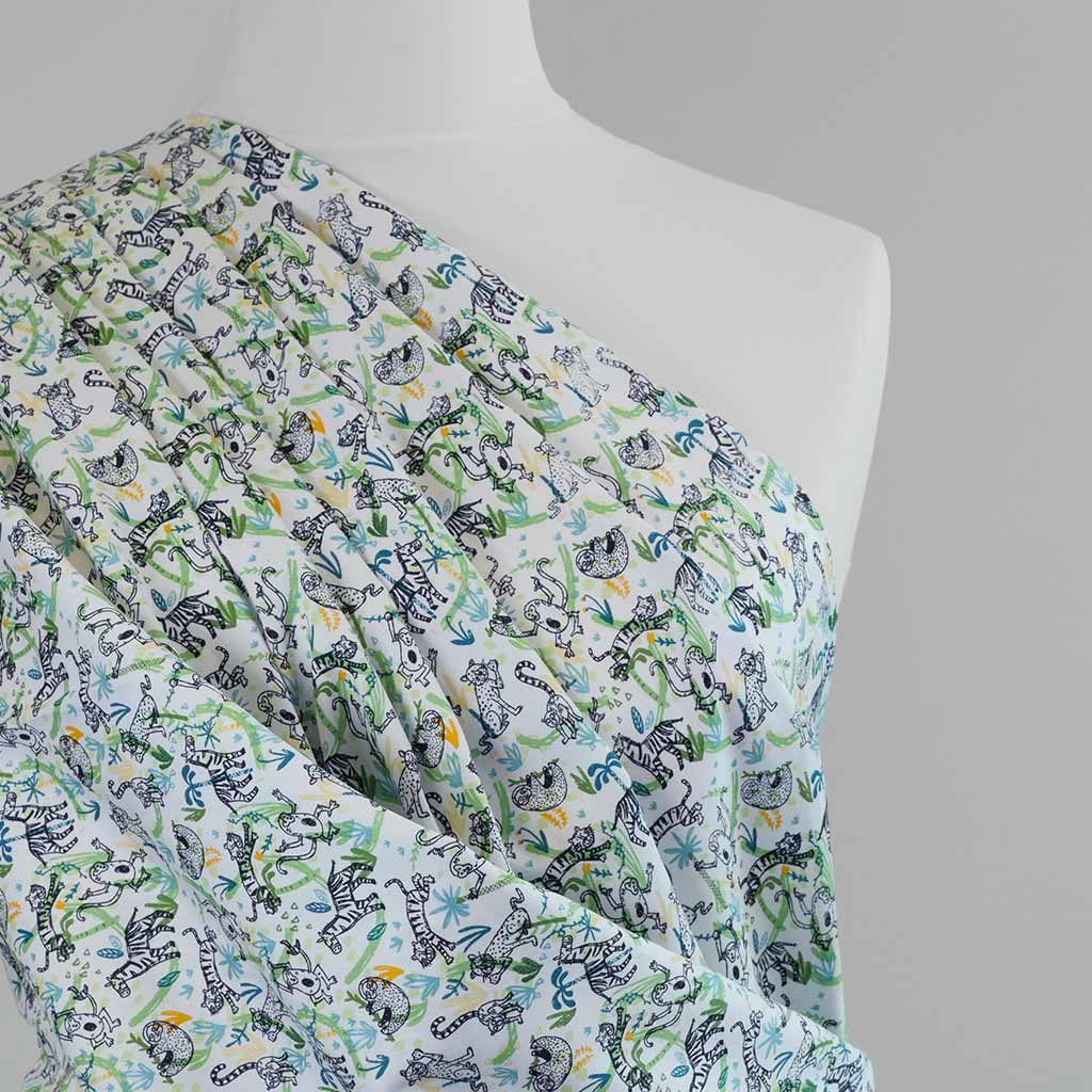 Mars - Green Jungle Animals, Cotton Poplin Woven Fabric