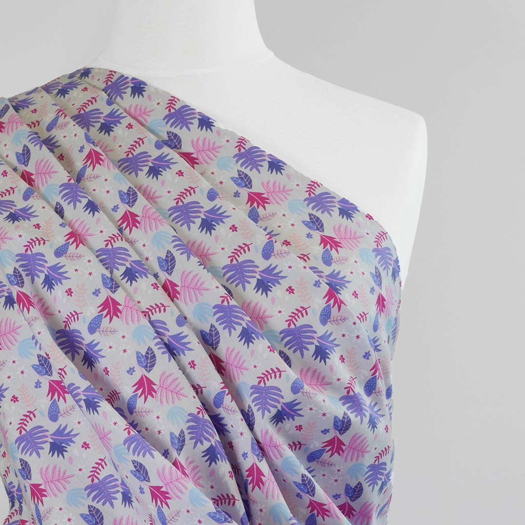 Mars - Pink and Purple Leaves, Cotton Poplin Woven Fabric
