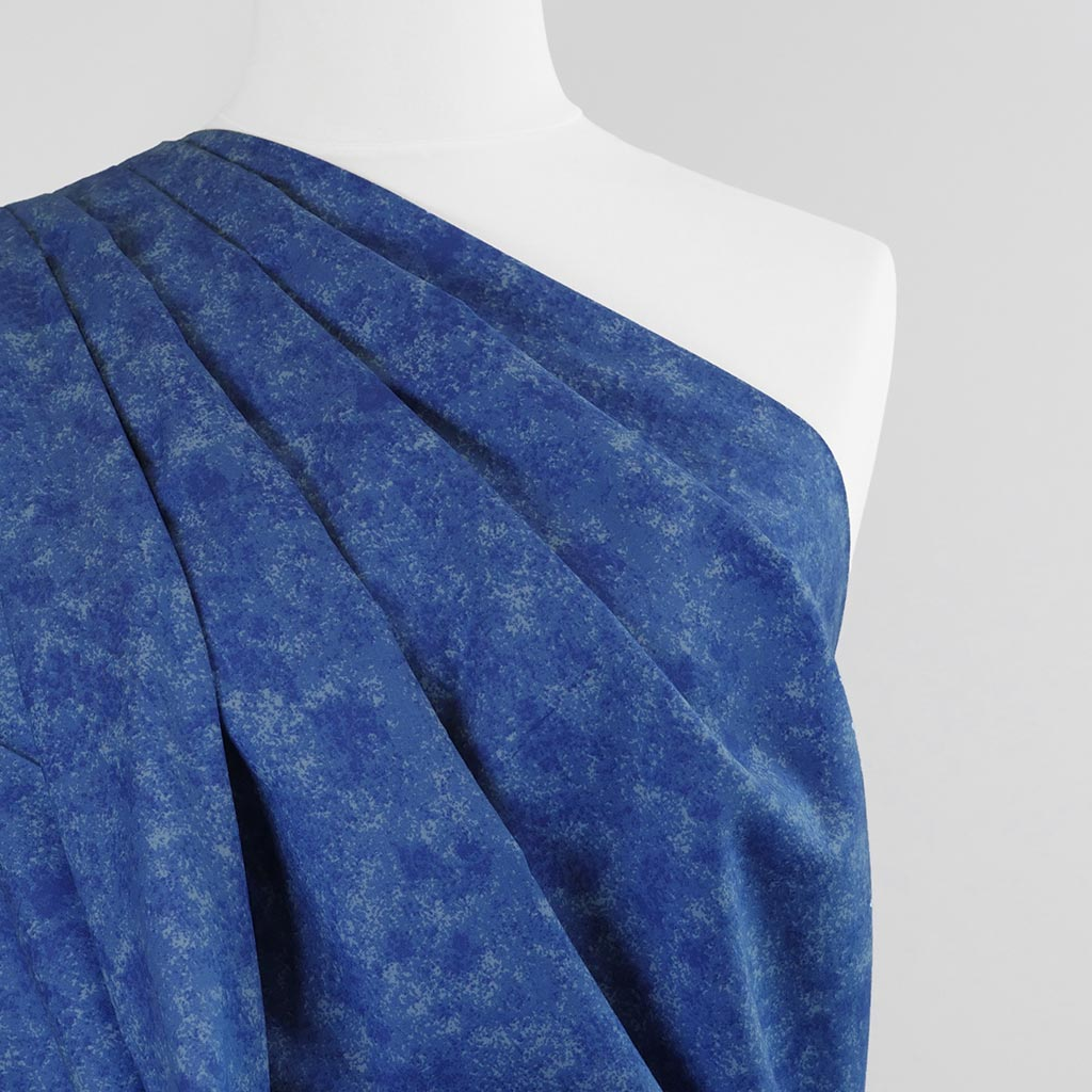 Mercury - Cobalt Blue Marbled, Cotton Poplin Woven Fabric