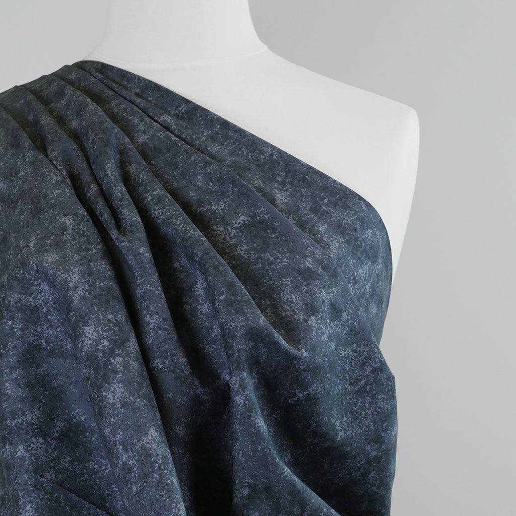 Mercury - Graphite Grey Marbled, Cotton Poplin Woven Fabric