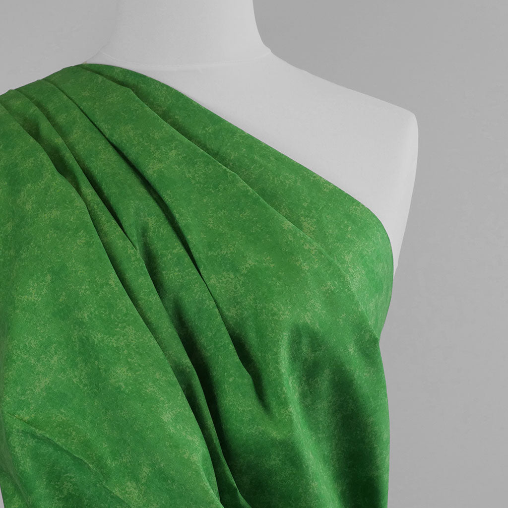 Mercury - Lawn Green Marbled, Cotton Poplin Woven Fabric