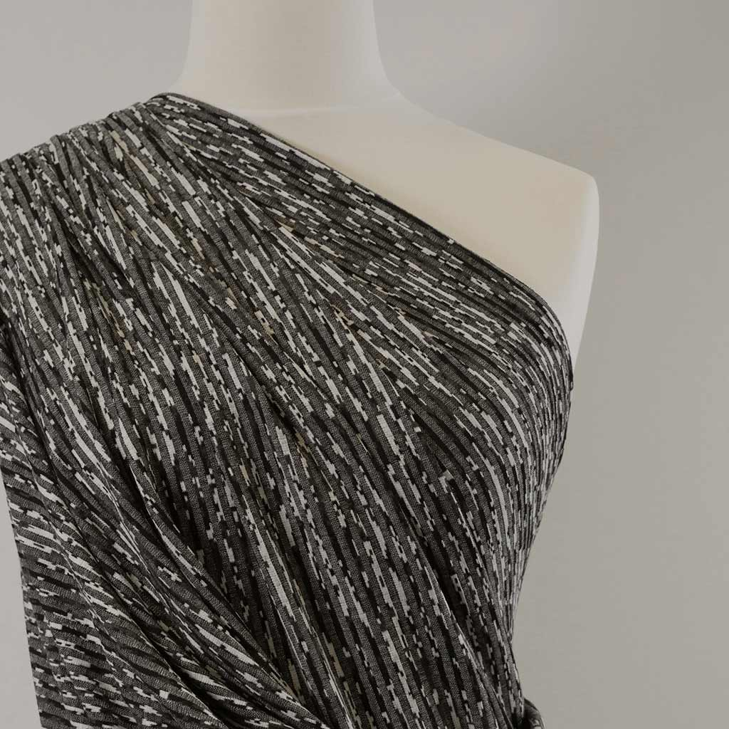 Metro - Greys, Abstract Lines Rib Fabric Mannequin Closeup Image from Patternsandplains.com