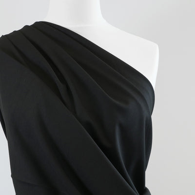 Milan - Black Viscose Rich Ponte de Roma Fabric Mannequin Close Up Image from Patternsandplains.com