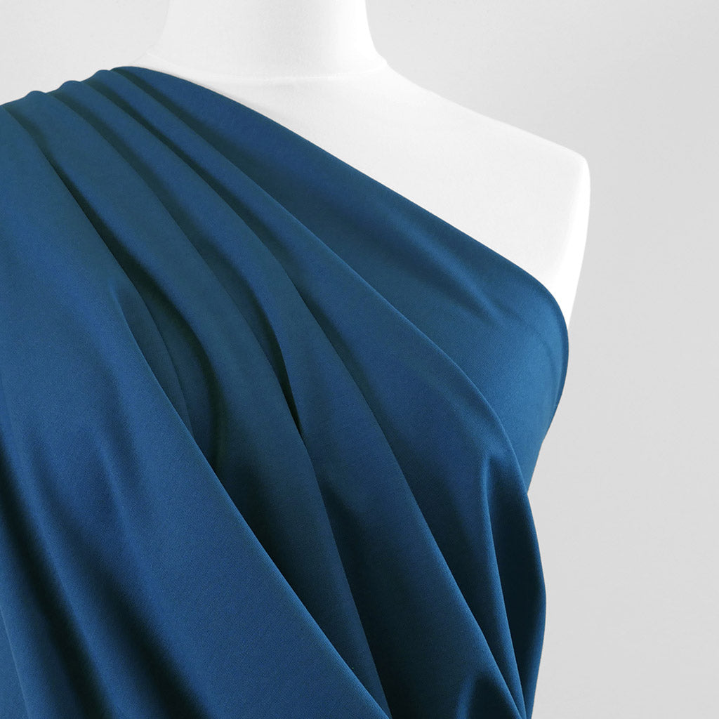 Milan - French Blue Viscose Rich Ponte de Roma Fabric Mannequin Close Up Image from Patternsandplains.com