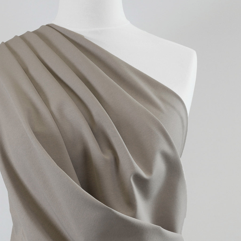 Milan - Oyster Viscose Rich Ponte de Roma Fabric Mannequin Close Up Image from Patternsandplains.com
