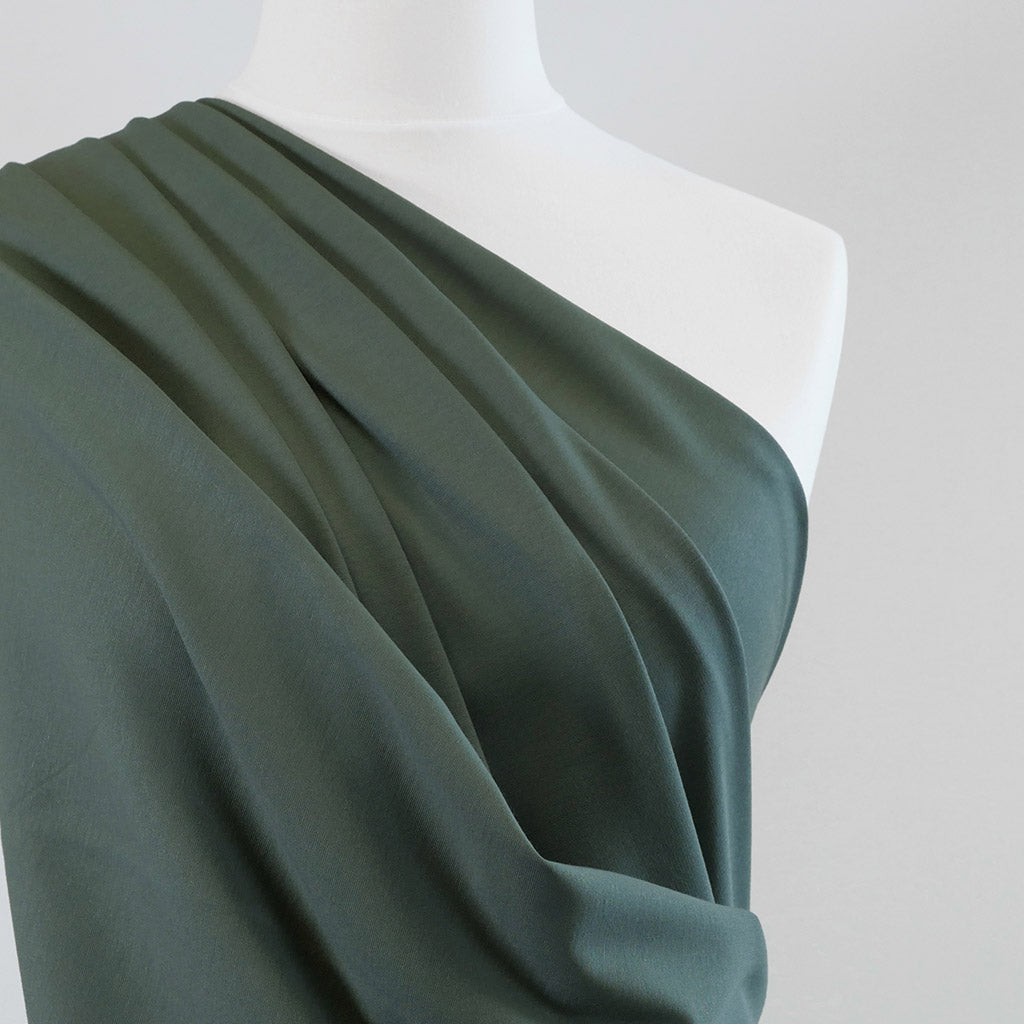 Milan - Slate Green Viscose Rich Ponte de Roma Fabric Mannequin Close Up Image from Patternsandplains.com