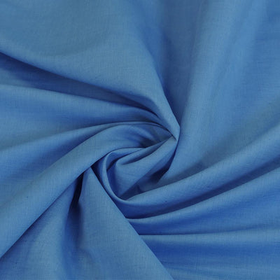 Moira Crisp Azure Blue LInen-Cotton Woven Fabric Swirl Detail Image from Patternsandplains.com