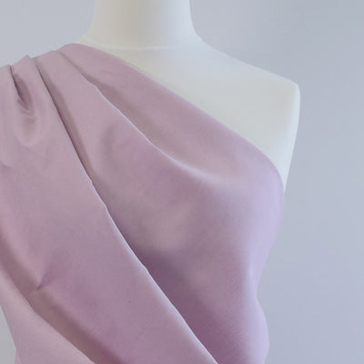 Moira Misty Rose Mauve Linen-Cotton Woven Fabric Mannequin Closeup Image from Patternsandplains.com
