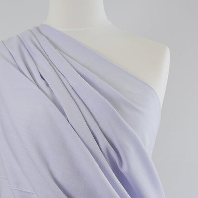 Nice Pale Lilac, Stretch Viscose Lightweight Woven Fabric Mannequin Closeup Image from Patternsandplains.com
