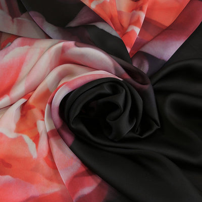 Paris 5188 Red and Black Crepe de Chine Fabric from John Kaldor Fabric Swirl Image from Patternsandplains.com