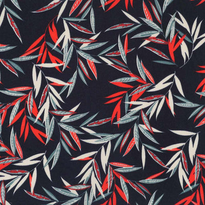 Peaseblossom 279162 Red on Navy Dry Crepe Woven Fabric from John Kaldor Main Image from Patternsandplains.com