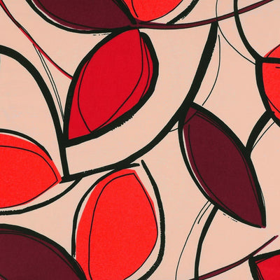 Peaseblossom 5033 - Red and Plum Bold Leaves Dry Woven Crepe Fabric from John Kaldor Main Image from Patternsandplains.com