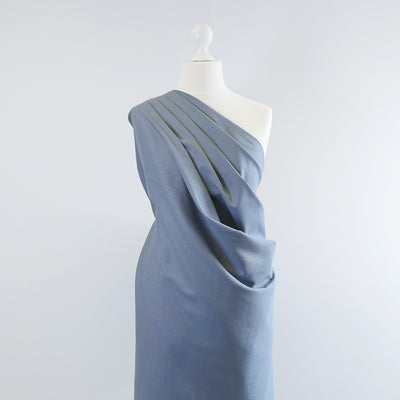 Phoenix - Washed Denim Blue Recycled Viscose and Linen Woven Fabric Mannequin Wide Image from Patternsandplains.com