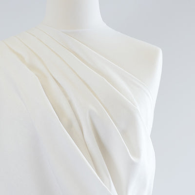 Phoenix - White Recycled Viscose and Linen Woven Fabric Mannequin Closeup Image from Patternsandplains.com