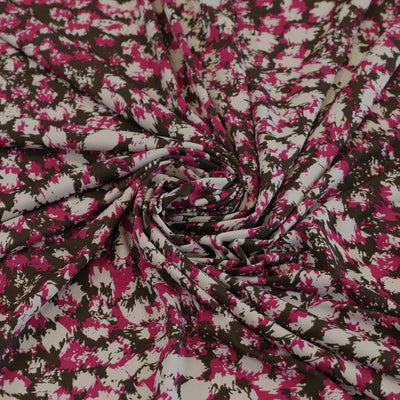 Portia 3912 Fuchsia Pink Abstract Stretch Jersey Fabric from John Kaldor Detail Swirl Image from Patternsandplains.com