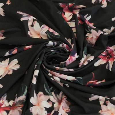 Portia 5317 Magenta Black Floral Stretch Jersey Fabric from John Kaldor Detail Swirl Image from Patternsandplains.com