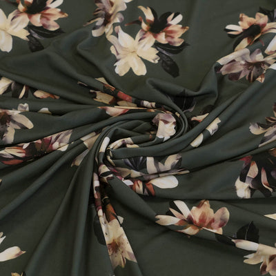 Portia 5317 Sage Green Floral Stretch Jersey Fabric from John Kaldor Detail Swirl Image from Patternsandplains.com