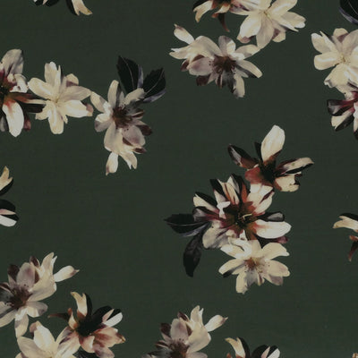 Portia 5317 Sage Green Floral Stretch Jersey Fabric from John Kaldor Main Image from Patternsandplains.com