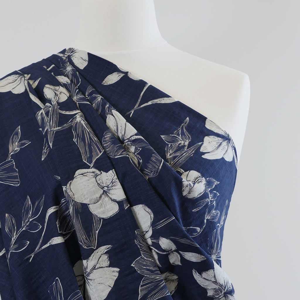 Provence Bright Navy, Lightweight Woven Print Fabric Mannequin Closeup Image from Patternsandplains.com