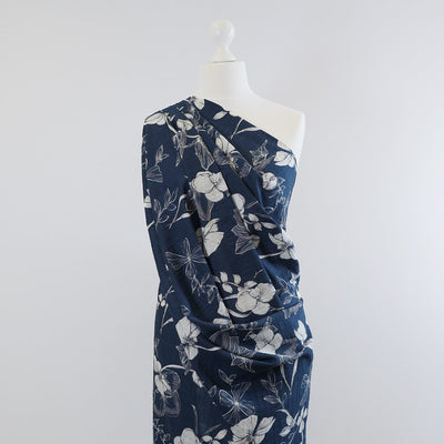 Provence Bright Navy, Lightweight Woven Print Fabric Mannequin Wide Image from Patternsandplains.com