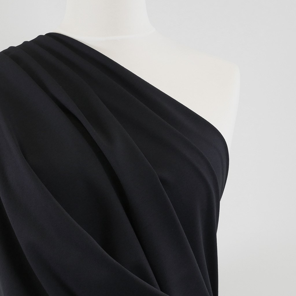 Rome - Navy, Viscose Rich Heavy Ponte de Roma Stretch Fabric Mannequin Close Up Image from Patternsandplains.com