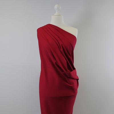 Rome Real Red, Viscose Rich Heavy Ponte de Roma Stretch Fabric Mannequin Wide Image from Patternsandplains.com