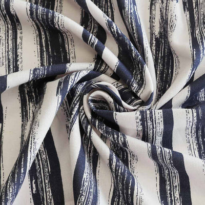 Salso 5268 Navy and Ivory Brush Strokes Linen/ Viscose Woven Fabric from John Kaldor Detail Swirl Image from Patternsandplains.com