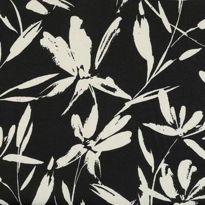 Salso 5385 Black and Ivory Floral Linen/ Viscose Woven Fabric from John Kaldor Main Image from Patternsandplains.com