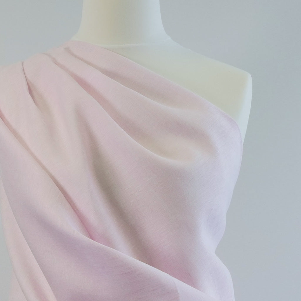Shannon Candyfloss Pure Linen Woven Fabric Mannequin Closeup Image from Patternsandplains.com