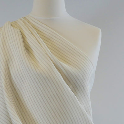 Shannon Stripe Cream and Natural 100% Linen Woven Fabric Mannequin Wide Image from Patternandplains.com