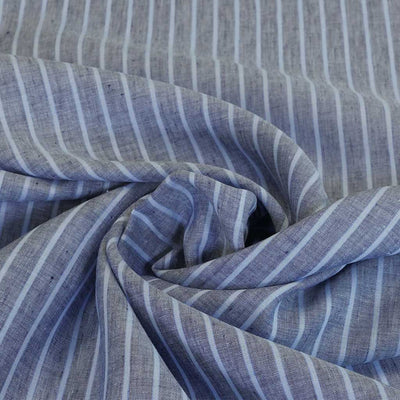 Shannon Vertical Stripe Blue on Blue 100% Linen Woven Fabric Detail Swirl Image from Patternsandplains,com