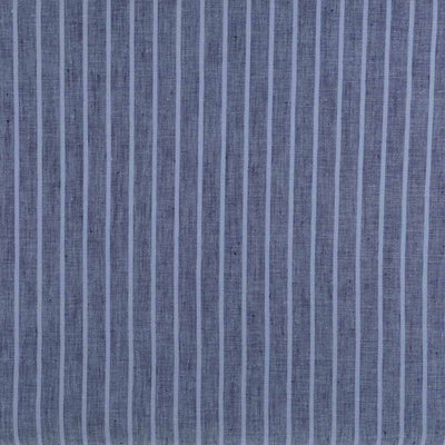 Shannon Vertical Stripe Blue on Blue 100% Linen Woven Fabric Detail Image from Patternsandplains,com