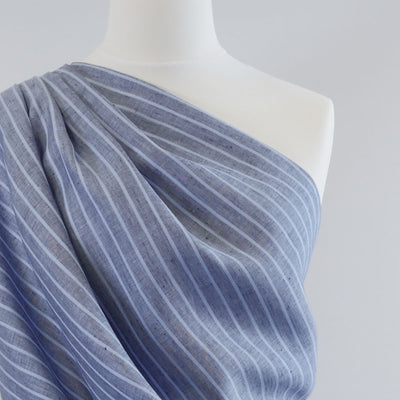 Shannon Vertical Stripe Blue on Blue 100% Linen Woven Fabric Mannequin Closeup Image from Patternsandplains,com