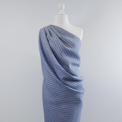 Shannon Vertical Stripe Blue on Blue 100% Linen Woven Fabric Mannequin Wide Image from Patternsandplains,com
