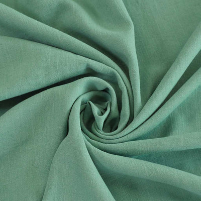 Spa - Lagoon Green Viscose and Linen Woven Fabric Detail Swirl Image from Patternsandplains.com