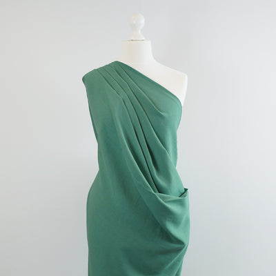 Spa - Lagoon Green Viscose and Linen Woven Fabric Mannequin Wide Image from Patternsandplains.com