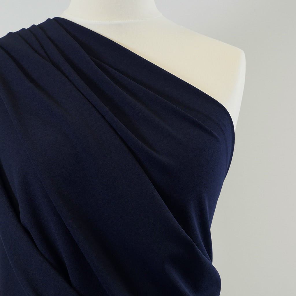 Tivoli- Deep Navy, Light Scuba Stretch Crepe Fabric Mannequin Closeup Image from Patternsandplains.com