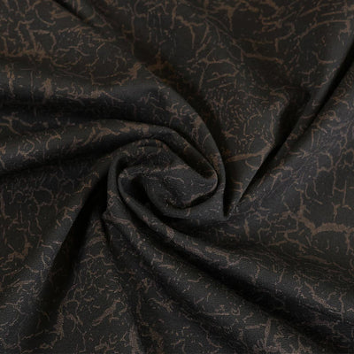 Tosca - Black with Bronze, Viscose Rich Ponte de Roma Fabric Detail Swirl Image from Patternsandplains.com