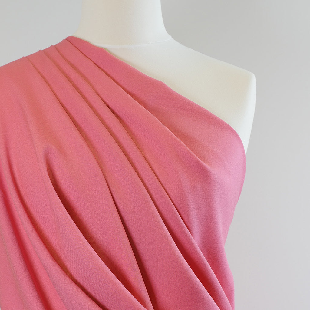 Trieste- Carnation Pink Modal, Bamboo and Tencel Woven Fabric Mannequin Closeup Image from Patternsandplains.com
