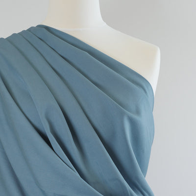 Trieste- Light Teal Modal, Bamboo and Tencel Woven Fabric Mannequin Closeup Image from Patternsandplains.com Mannequin Closeup Image from Patternsandplains.com