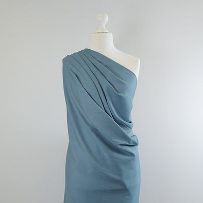 Trieste- Light Teal Modal, Bamboo and Tencel Woven Fabric Mannequin Closeup Image from Patternsandplains.com Mannequin Wide Image from Patternsandplains.com