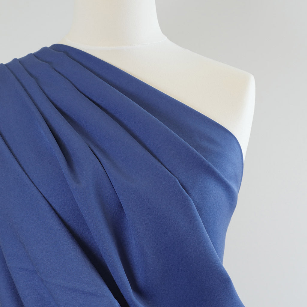Trieste- Royal Blue Modal, Bamboo and Tencel Woven Fabric Mannequin Closeup Image from Patternandplains.com