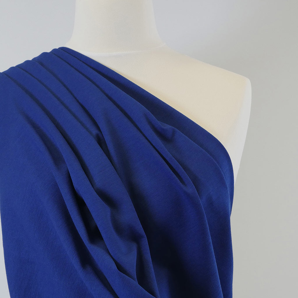Venice Royal Blue Ponte de Roma Stretch Fabric Mannequin Closeup Image from Patternsandplains.com