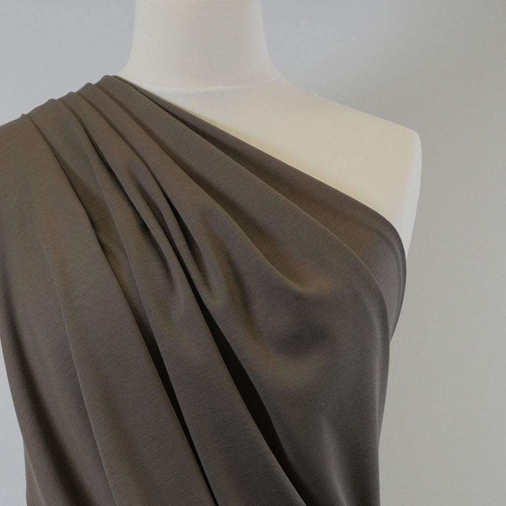 Venice Taupe Ponte de Roma Stretch Fabric Mannequin Closeup Image from Patternsandplains.com