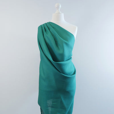 Skea Dark Turquoise Pue Linen Woven Fabric Mannequin Wide Image from Patternsandplains.com