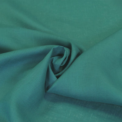Skea Dark Turquoise Pue Linen Woven Fabric Swirl Image from Patternsandplains.com