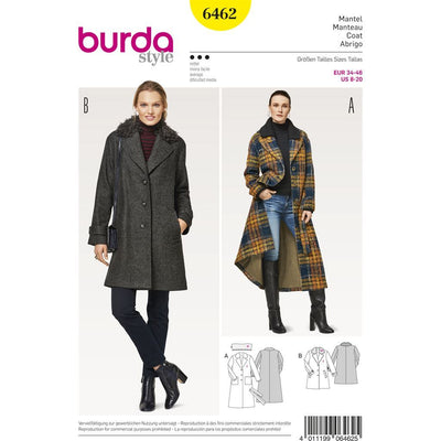 Burda Style Pattern B6462 Womenss Fur Collar Coat 6462 Image 1 From Patternsandplains.com
