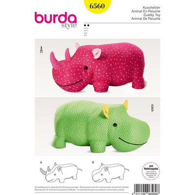Burda Style Pattern B6560 Stuffed Hippo or Rhino 6560 Image 1 From Patternsandplains.com